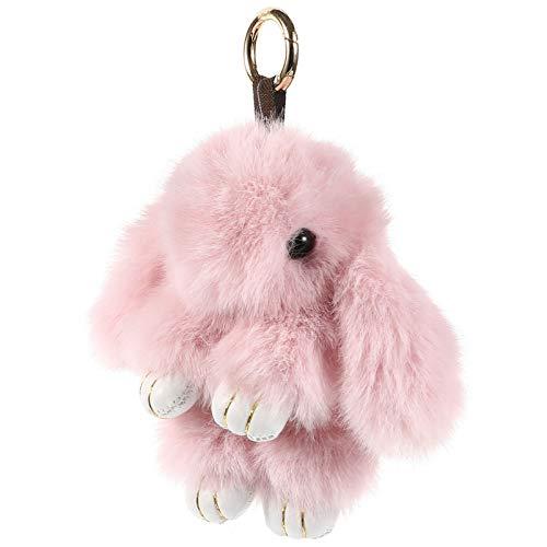 Toyvian Llavero con pompones de peluche de conejo de 12 cm, para llaves de coche, bolso de mano, llavero, colgante para Pascua, Año Nuevo, fiesta, color beige