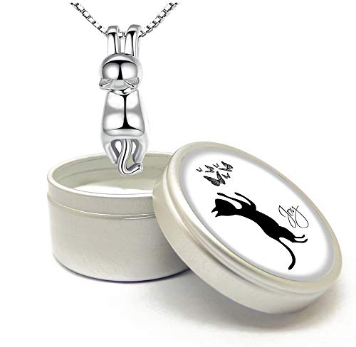 CraftDe Mujer Collar Plata de Ley 925 Personalizado Gato Collar Colgante 40cm + 5 cm Cadena extensión hipoalergénicos