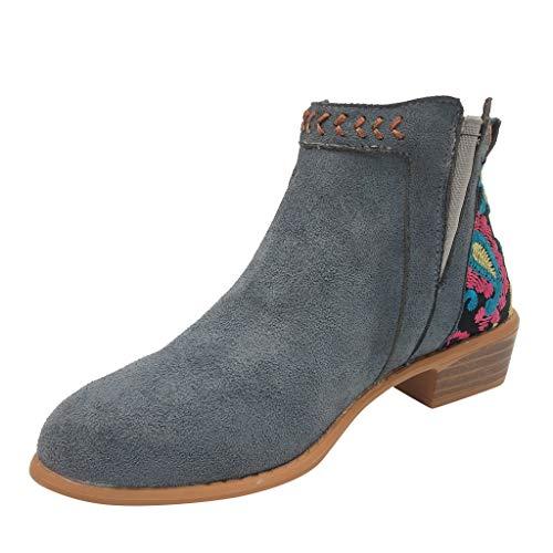 Laurala Damen-Stiefel, kurzes Design, mit Stickerei, für Damen, in Übergröße, mittelgroße...