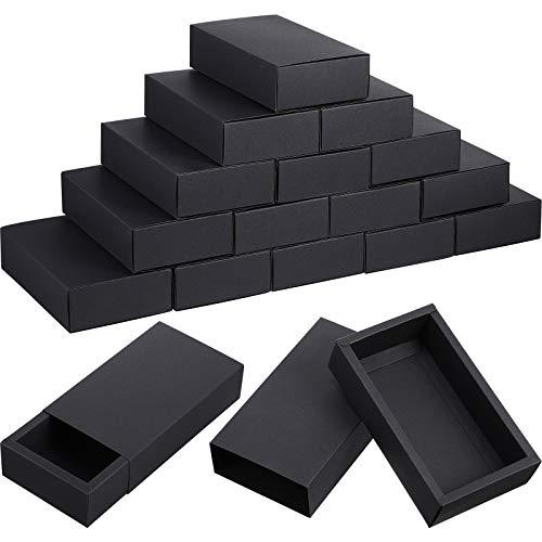 30 Stücke Kraftpapier Schublade Box, Mini Handwerk Karton Geschenk Boxen zum Geschäft und Seife Schmuck Süßigkeiten Jäten Partei Bevorzugt Geschenk Verpackung Boxen (Schwarz)