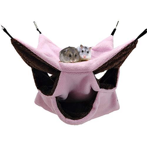 LeerKing Hamac Rongeur Hamster Lit Suspendu Couchage Furet Nid Confortable avec 3 Couches de Labyrinthe Géométrique pour Petits Animaux Rat Hamster Écureuil pour Jouer et Dormir, Rose