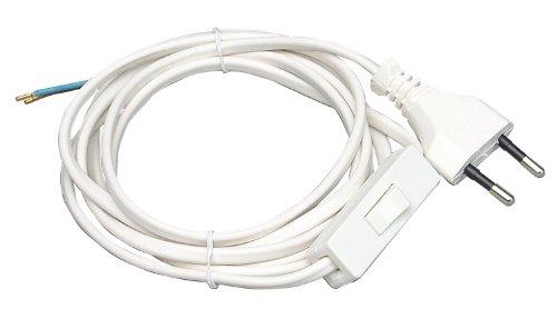 Kopp 140302095 Euro-Zuleitung 2 m, mit Zwischenschalter, weiß