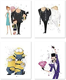 Despicable me Poster Inspired Watercolor Wall Art minion Prints for Kids - Set of 4 Decor Painting Paper 8x10 P55