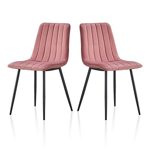 TUKAILAI - 2 sillas de Comedor de Terciopelo con Patas de Metal Resistentes, Juego de 2 sillas de recepción con Respaldo y Asiento Acolchado, Rosa, 45X54X87cm