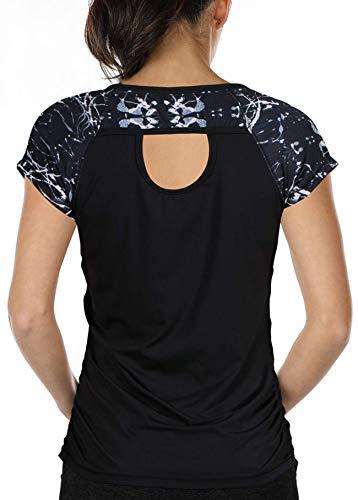 icyzone Damen Fitness Training T-Shirt Kurzarm Sportshirt Laufshirt Rückenfrei Gym Yoga Oberteile (M, Monochrome/Black)