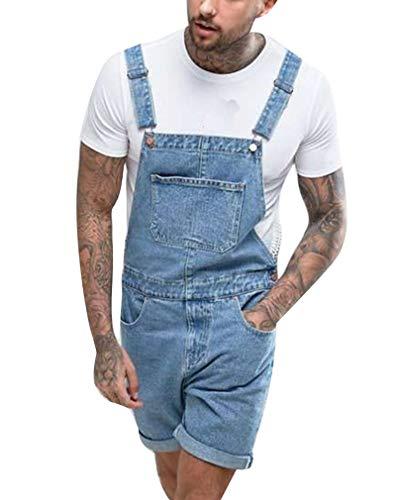 GUOCU Pantalones Cortos de Mezclilla para Hombres Desgastados Vaqueros Peto Monos Vintage Roll Up Casual Trabajo Jumpsuit Azul Claro M