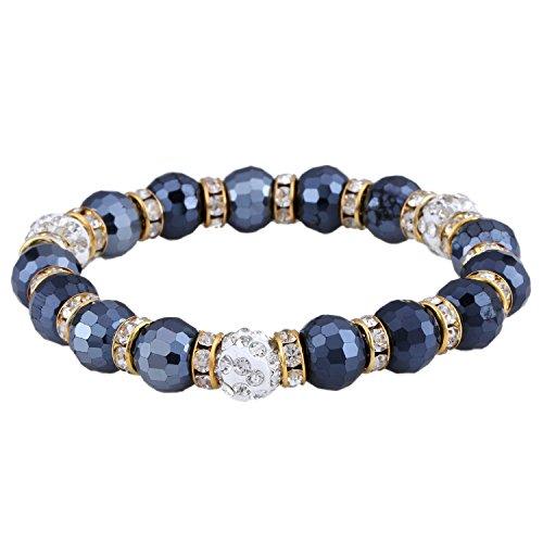 Morella Damen Armband mit facettierten Glasperlen und Zirkonia Beads elastisch grau Gold
