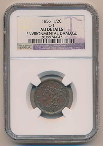 1856 P Braided Hair Half Cent AU Details NGC