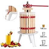 Fruit Wine Press 1.6 Gallon Apple Cider Grape Crusher, Juice Maker Tool, Wood Basket