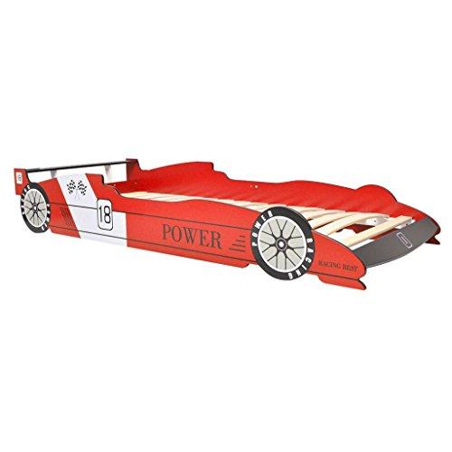 Galapara Kinderbett Autobett mit LED | 200x90cm Rot | Jugendbett Juniorbett im Rennwagen-Design | MDF Holz | Rennbett Kindermöbel Jugendbett Bettgestell