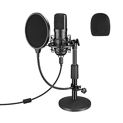 USB Microphone, Professional Podcast Microphone Sets 192KHZ/24Bit Studio Condenser Microphone with Sound Card Stand Shock Mount Pop Filter for Skype, Broadcasting, Recording, Games, YouTube and More
