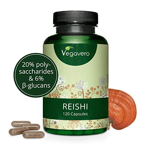 Reishi Vegavero® 2000 mg | El Único Estandarizado | 120 Cápsulas | Estrés y Ansiedad + Energizante + Antioxidante | NATURAL | Adaptógenos | 20% Polisacáridos + 6% Betaglucanos