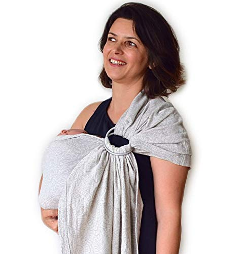 Product Image of the Mebien Baby Wrap Carrier Ring Sling-Jacquard Cotton Floral Beige Gray -Newborn...