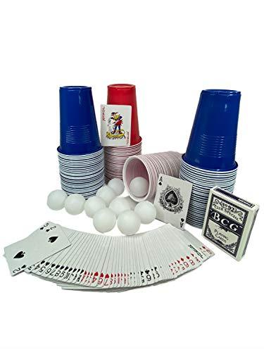 SPIPROTECTOR Bierpong Becher-Set Partyspiel Erwachsene Beerpong - 120 Cups 60 rot und 60 blau je 500 ml mit 10 Bällen extra Kartenspiel