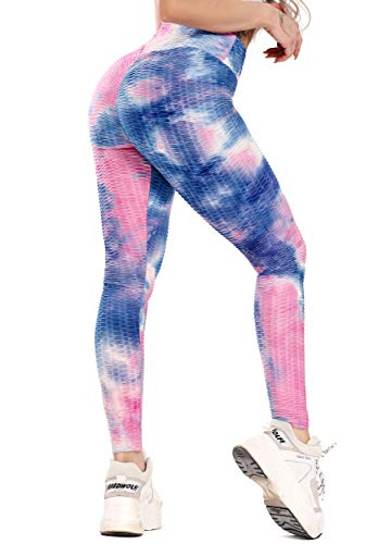 FITTOO Leggings Sportivi Donna Vita Alta Pantaloni Fitness Compressione Allenamento Push Up Butt Lifter Pantaloni Yoga Palestra Jogging, XL, Blu-Rosa