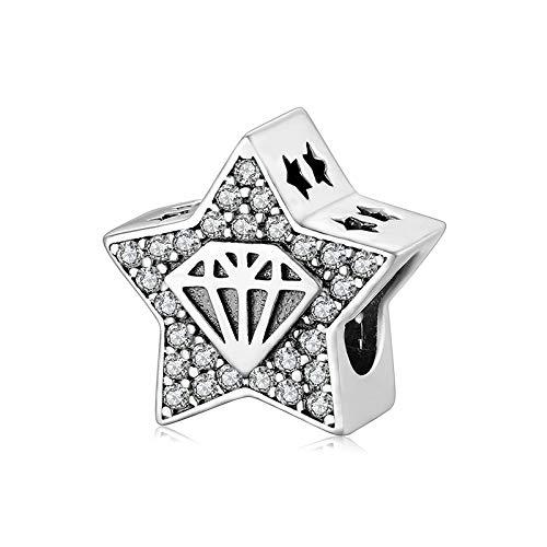 Abalorios de Plata de Ley 925 con Pentagrama compatibles con los dijes de Pandora y Otras Pulseras de dijes Europeos