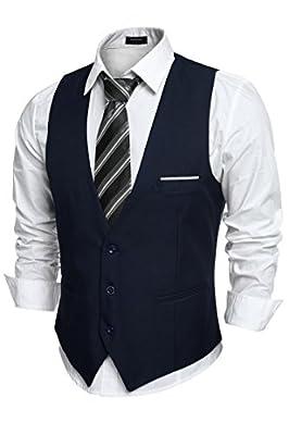 COOFANDY Men's V-Neck Sleeveless Slim Fit Jacket Casual Suit Vests,Type-02 Navy Blue,X-Large