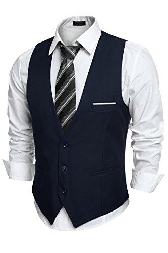 COOFANDY Men's V-Neck Sleeveless Business Suit Vests Slim Fit Wedding Waistcoat, Type-02 Navy Blue, Large