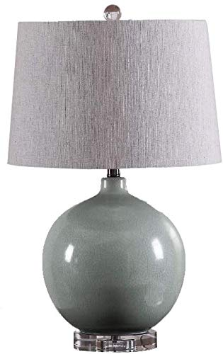 Lámpara de mesa de cristal, Cerámica Concisa Lámpara de mesa Lámpara de cristal E26 Lámpara de escritorio LED Adecuado para sala de estudio/Dormitorio Decoración para el hogar Iluminación con tela S