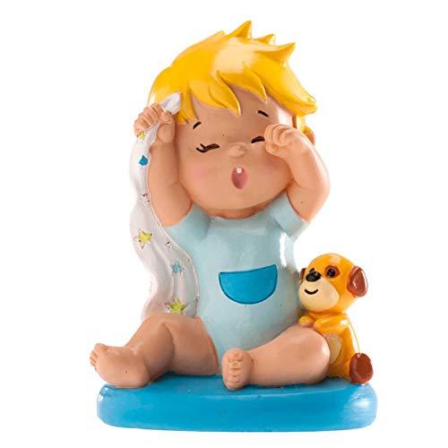 Figura de resina para pastel, bebé bostezando, para bautismo o nacimiento.