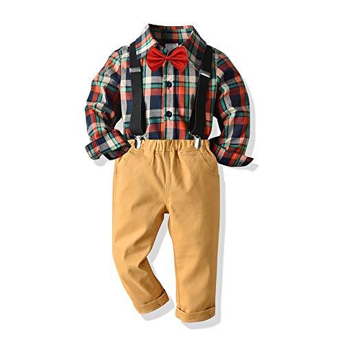 Little Baby Boy Dibujos Animados Imprimir Botón Abajo Camiseta Vestido Tops y Pantalones Cortos Pantalones Caballeros Traje Casual 2pcs Verano Conjunto - marr�n - 2-3 años