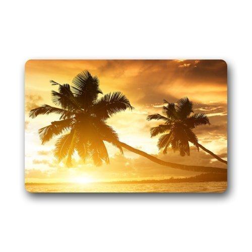 Tapete de bienvenida, palmera de playa tropical de Hawaii, tapete de poliéster para puerta de entrada Tapete de bienvenida para el hogar, interior, entrada, cocina, patio, entrada, baño, 60 x 40 cm