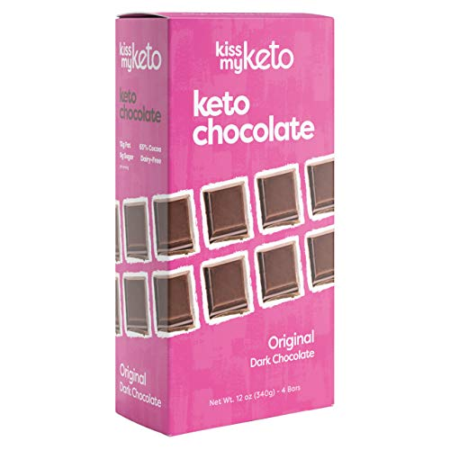 Kiss My Keto Low Carb Keto Dark Chocolate Keto Snack, (4X 3 oz Bars per Pack) A Perfect Sweet Treat with MCT Oil for Ketogenic Diet Support Sugar-Free, Keto Friendly Foods - No Artificial Ingredients
