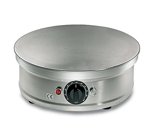 Crepera redonda eléctrica profesional cromada, 35 cm, 2000 W, 230 V