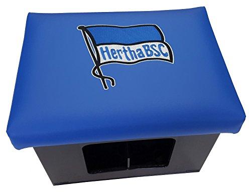 Hertha BSC Berlin Sitzauflage Bierkastenaufsatz Bierkiste Stehtisch Hocker Auflage Bierkiste blaues Kunstleder hochwertiger Stick