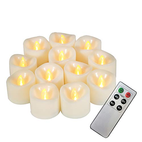 Battery Operated Flameless Tealight Candles with Remote and Timer, Long Lasting Plastic Flickering Electric LED Candles for Halloween Christmas Wedding Table Centerpiece Home Party Décor 12 Pack