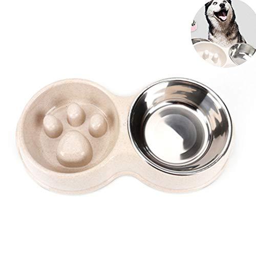 Double Dog Bowls RVS Pet Feeder Voor Voedsel En Water Met Antislip Anti Puppy Food And Water Feeder Voor Dog Katten (Wit)