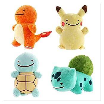 TSYGHP 4Pcs Cute Plush Toys Peluche Ditto Squirtle Bulbasaur Charmander Plush Doll Gifts for Children 15Cm Pokemon Plush Pikachu Toy