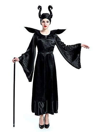 KIRALOVE Disfraz de maléfica - Bruja Malvada - maléfica - Bella Durmiente - Mujer - niña - Disfraz - Carnaval - Halloween - Cosplay - Accesorios - Talla l