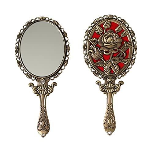 SEHAMANO Espejo de Mano Vintage con Rosa en Relieve en la Parte Posterior para Maquillaje de Mano con Espejo de Metal Compacto pequeño Espejo
