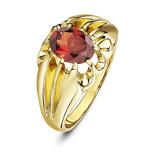 Theia Women's 9 ct Yellow Gold, Oval Garnet Stone Set in a Raised Square Designed Prong Setting Ring, Size U