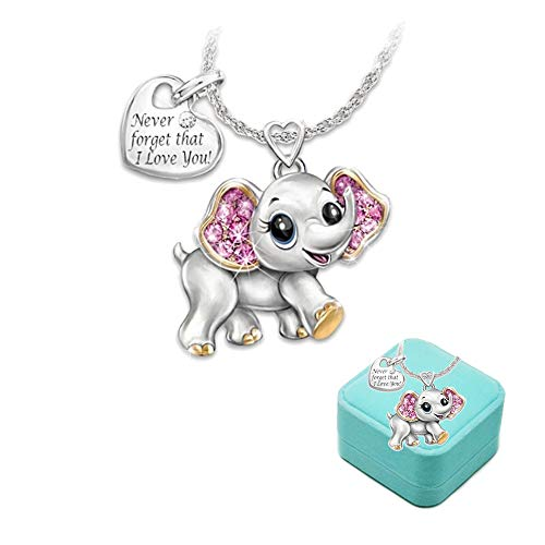 Kids Elephant Necklace Girls Cute Animal jewelry 'Never Forget That I Love You' Heart Pendant Gift for Teen kids Christmas Thanksgiving Halloween with gift box