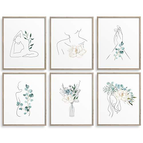 RYVE Botanical Wall Art Decor - Set of 6 Botanical Prints in 8x10 - Unframed - Boho Wall Art, Plant Wall Decor, Boho Wall Decor, Floral Wall Art, Boho Decor, Plant Wall Art Prints,Minimalist Wall Art