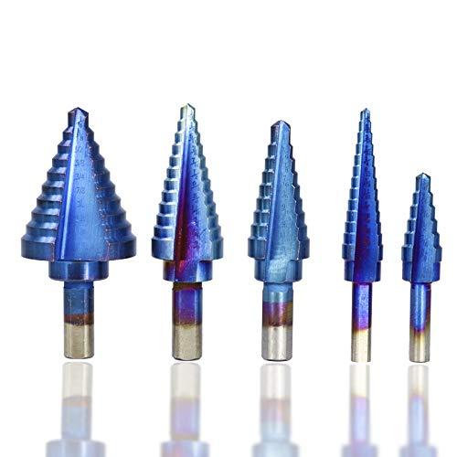 Jinyouqin Accesorios de Herramientas 6pcs 1/8'-1-3/8' HSS Taladro bit Paso Conjunto Azul Nano Revestido De Perforación del Agujero Cortador Triángulo Caña Pagoda