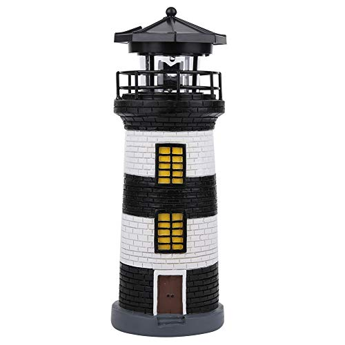 Lighthouse Decorative Light Solar Waterproof Nautical Style Garden Lamp Patio Pathway Night Lighting Ornament LED Rotation Lawn Yard Lighthouse(Black)