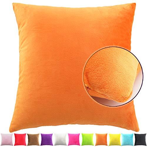 Funnie Funda de Cojín de Color sólido Square Decorativos Felpa Funda de Almohada para Hogar Dormitorio Sofá Coche Cama Fundas de Cojines Naranja 30X50CM