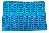 werpower 255 Agujeros Mini Molde de silicona para galletas en forma de corazón, para hornear reutilizable antiadherente y resistente al calor molde de silicona, para helado y postre. Sin de BPA(Azul)