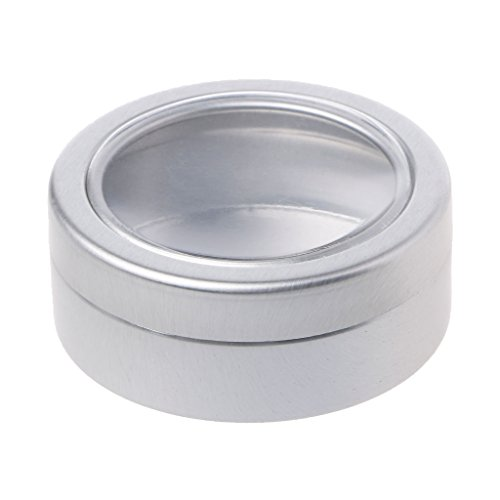 XISAOK 25ml Round Tin Case Containers with Lids-Empty Clear Window Tins with Lid for Travel, Spices, Small Gadgets, DIY Lip Balm - Spices Case Aluminum Container Box Can/Tiny Pocket Sized Tins