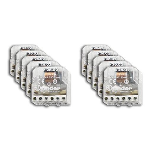 Finder 260280240000 Stromstoßschalter für Montage in Unterputzdose, 24VAC, 2Schließkontakte, 10A
