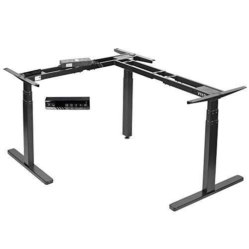 VIVO Black Electric Motor Height Adjustable Corner 3 Leg Standing Desk Frame, Frame Only, Sit Stand Ergonomic L Frame, DESK-V130EB