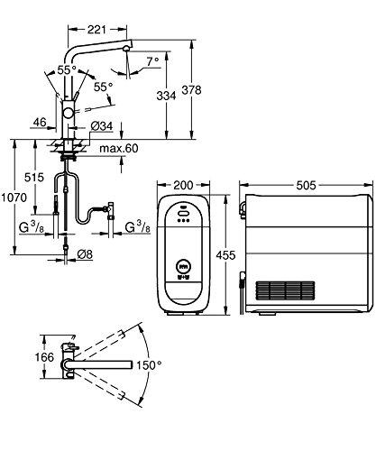 Grohe Blue Home Duo – 2-in-1 Trinkwassersystem und Küchenarmatur (gekühlt, gefiltert, mit Kohlensäure, L-Auslauf) 31454000 - 2