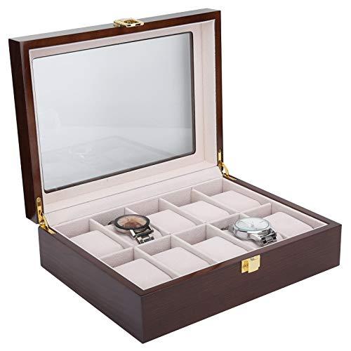 Organizador de Relojes, Caja de Reloj de Lujo, Exquisita Vitrina de joyería de 10 Rejillas, Regalo Duradero para Amigos, Esposo, Esposa, Hombres y Mujeres con Almohadas pequeñas