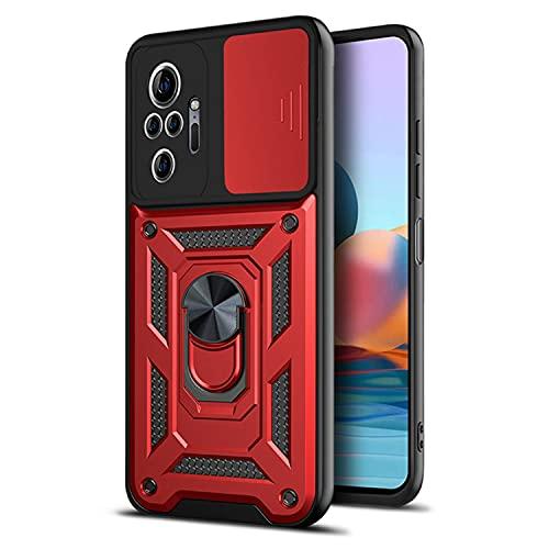 Funda Compatible con Xiaomi Redmi Note 10 Pro Funda Cámara Protección Teléfono Móvil Xiaomi Redmi Note 10 Pro Armor Rojo Soporte Coche Xiaomi Redmi Note 10 Pro Case Silicona (Rojo, Redmi Note 10 Pro)