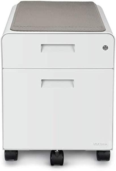 UPLIFT Desk 2 Drawer File Cabinet With Seat Rolling White