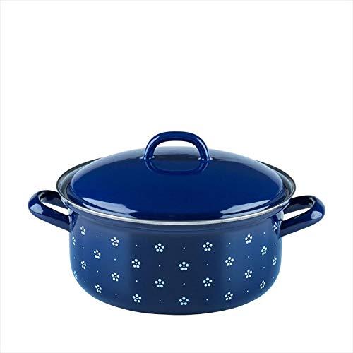 Riess, 0130-073, Kasserolle mit Deckel, COUNTRY - DIRNDL, Durchmesser 20 cm, Höhe 13,6 cm, Inhalt 2,0 Liter, Emaille, blau/weiß