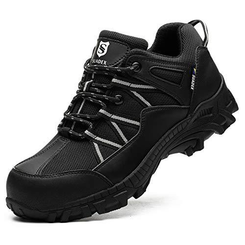 SUADEX Zapatos de seguridad para hombre, ligeros, con puntera de acero, deportivos, con puntera de acero, color Negro, talla 44 EU